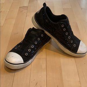 Ugg black sequin & suede Laela slip in sneakers